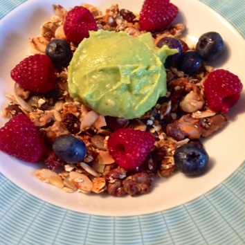 AVOCADO MOUSSE WITH HONEY MUESLI